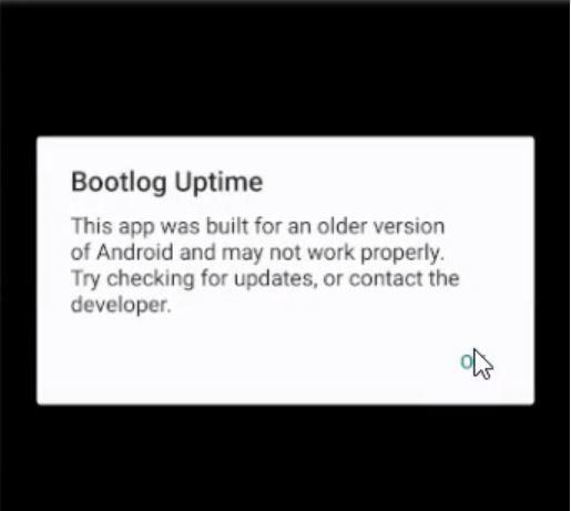 Aviso de aplicación antigua en Android P