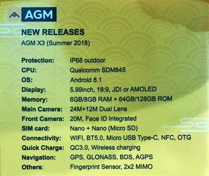 Resumen de las características del AGM X3