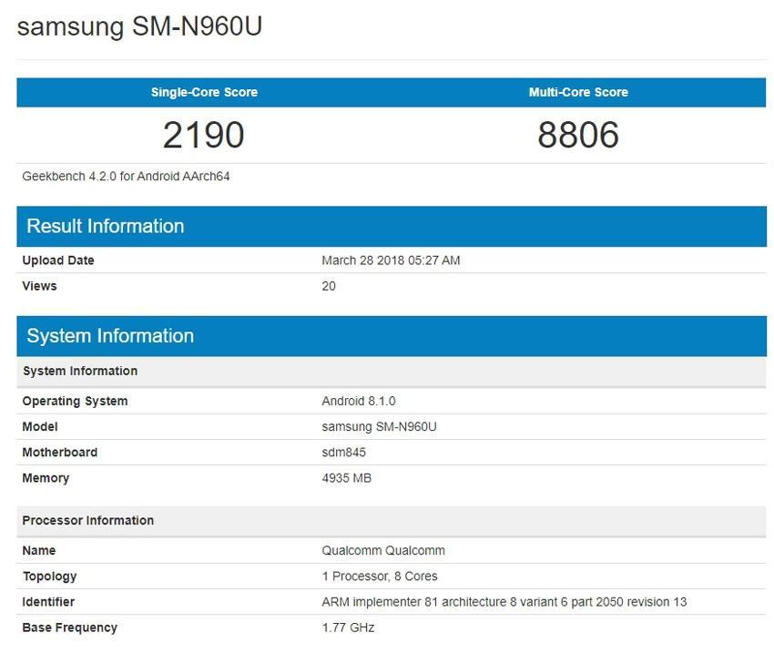 Samsung Galaxy Note 9 en prueba de rendimiento Geekbench