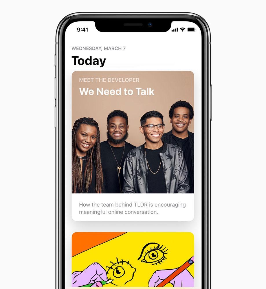 iPhone X con App Store de Apple