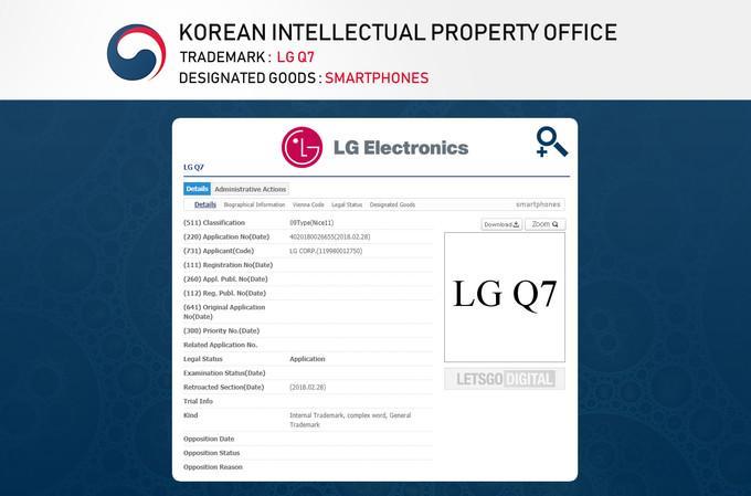 Registro nombre LG Q7