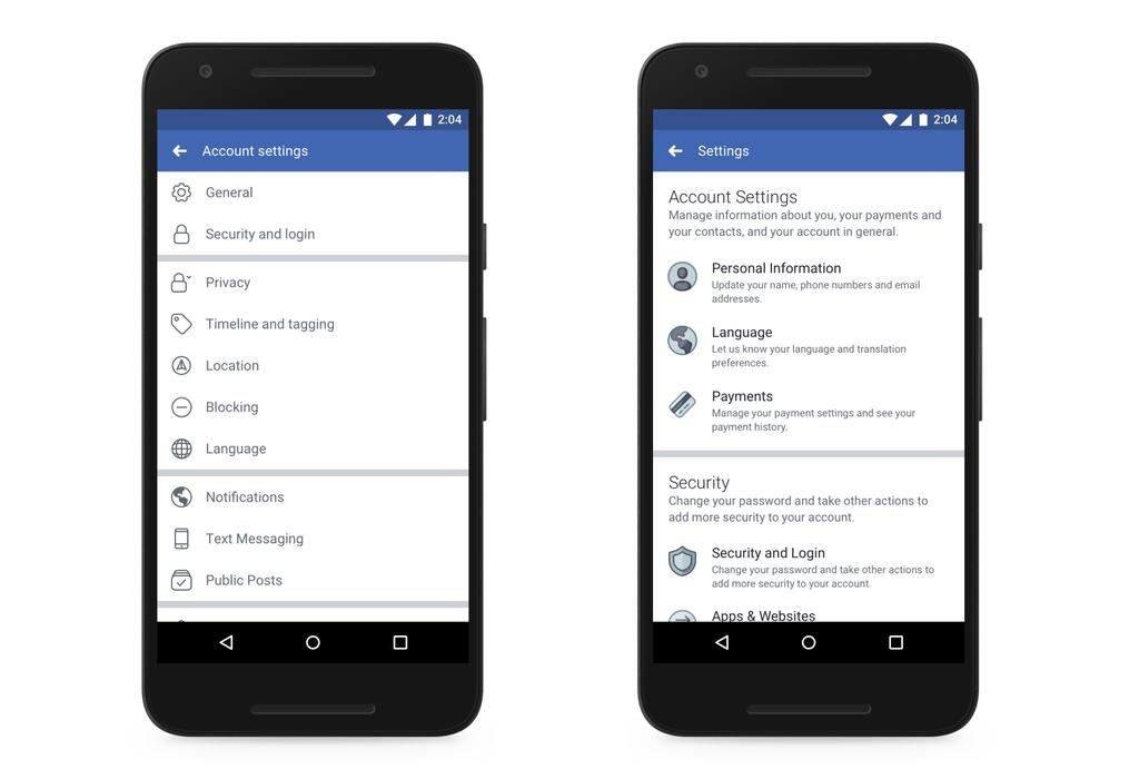 Nuevas opciones privacidad en cliente Facebook smartphones
