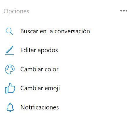 Opcions personalización Facebook Messenger