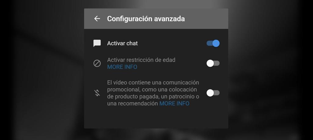 Opciones para emitir en diecto con YouTube desde el ordenador