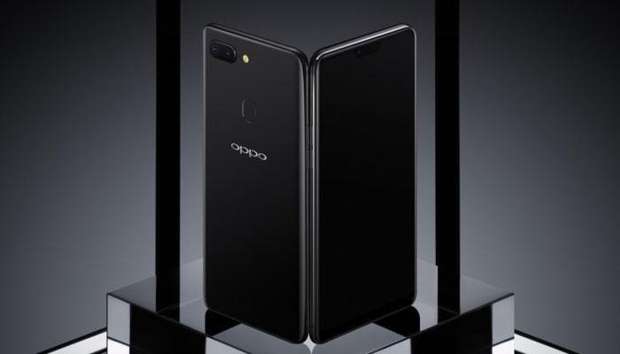 Teléfono Oppo R15 con fondo gris