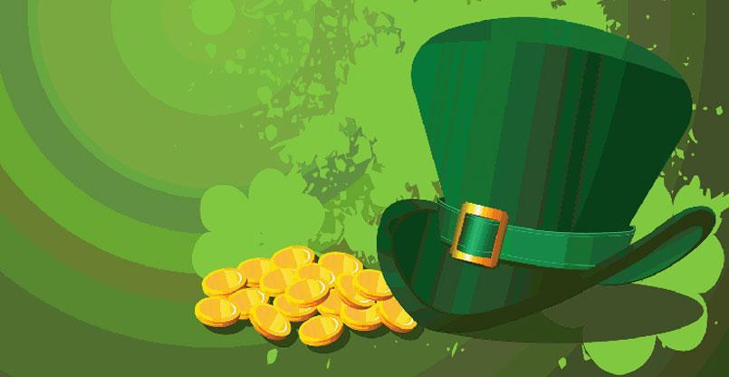 oro con fondo verde y gorro San Patricio