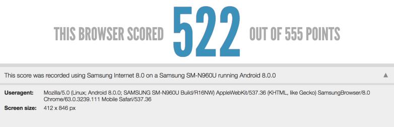 Resultados tes HTML 5 del Samsung Galaxy Note 9