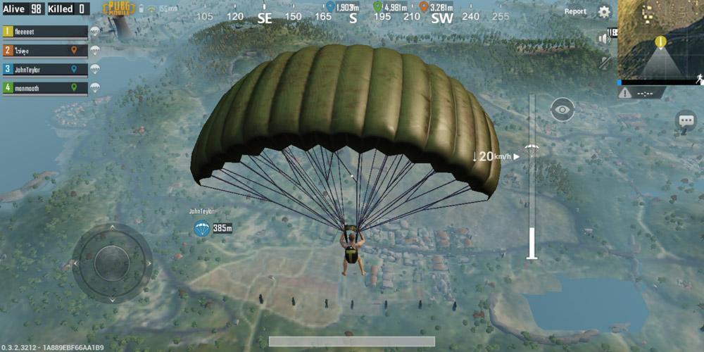 Salto en paracaídas en PUBG Mobile