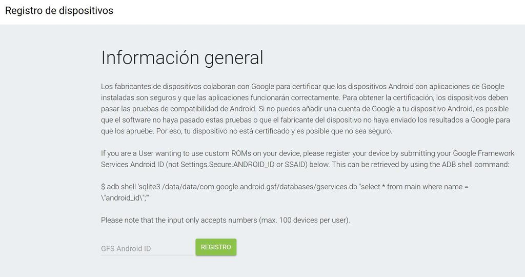 móvil certificado por Google