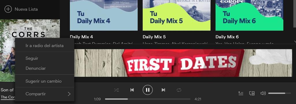 Uso de Spotify Line-In