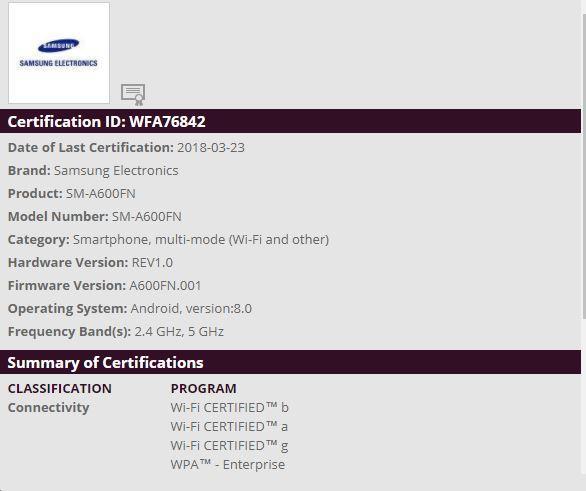 Samsung Galaxy A6 en WiFi Alliance