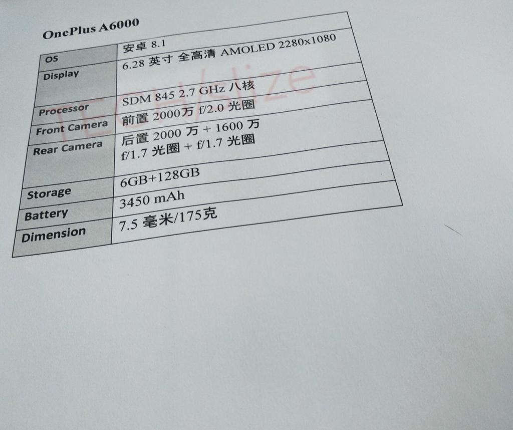 Características que puede incluir el OnePlus 6