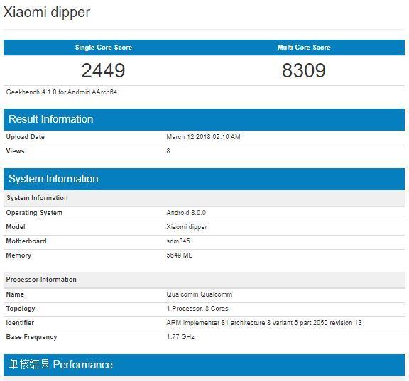Xiaomi MI 7 en prueba Geekbench