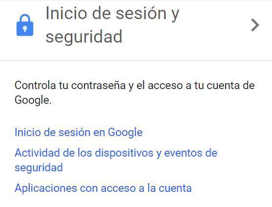 Ajustes cuenta de Google