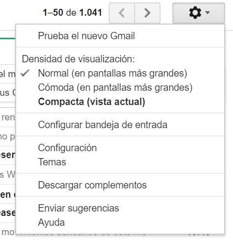 menú para activar el nuevo diseño de Gmail