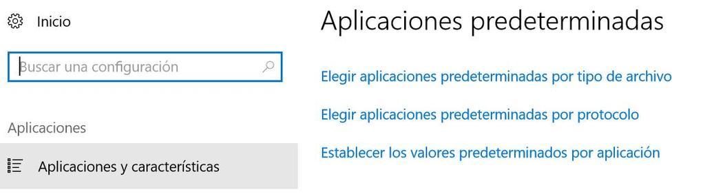 Asociación de aplicaciones en Windows 10