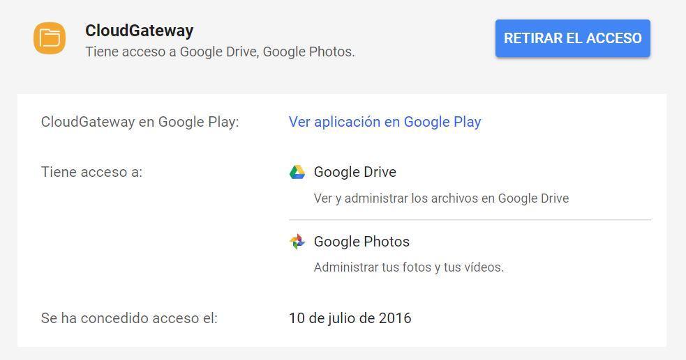 retirar acceso de la cuenta de Google
