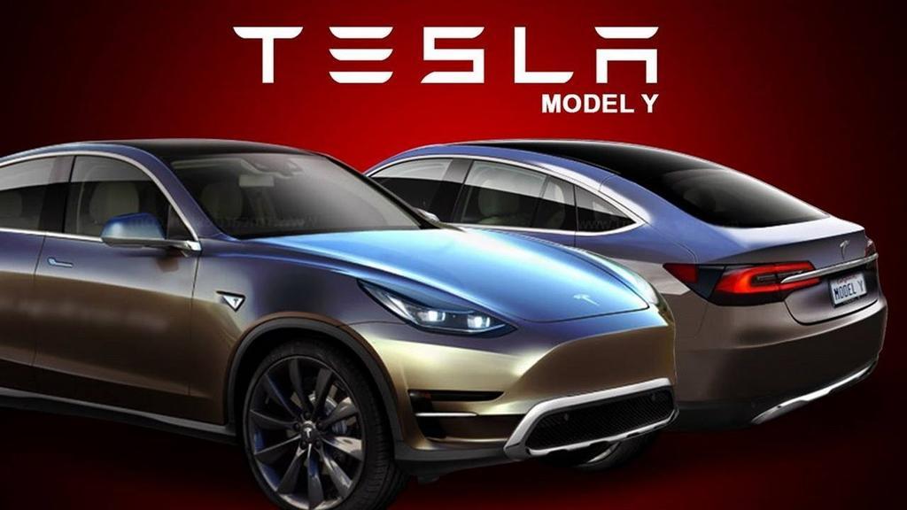 Diseño del Tesla Model Y con fondo rojo