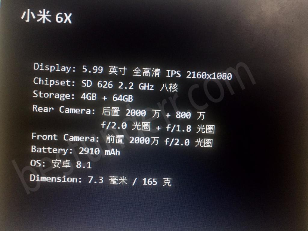 Posibles características del Xiaomi Mi A2