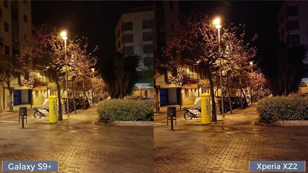 Foto noche Samsung Galaxy S9+ y el Sony Xperia XZ2