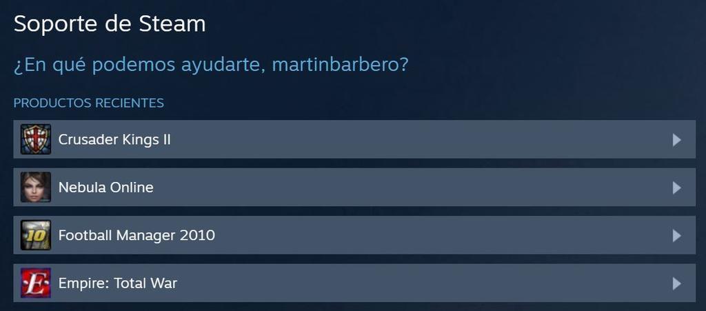 Lista de juegos para devolver en Steam