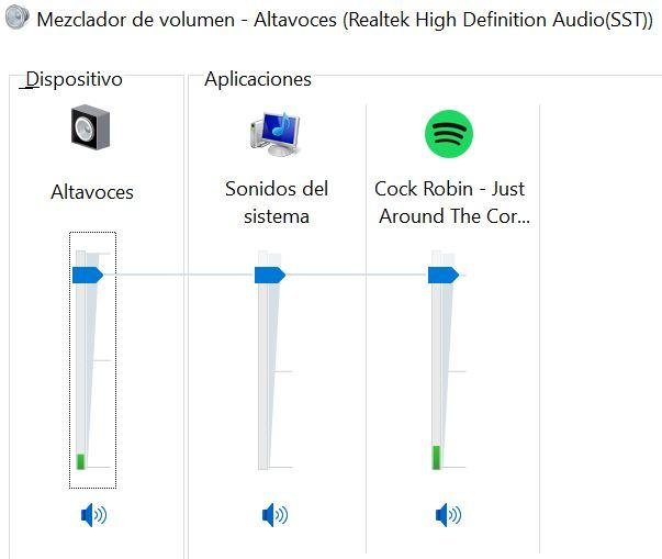 Mezclador de sonido en Windows 1o