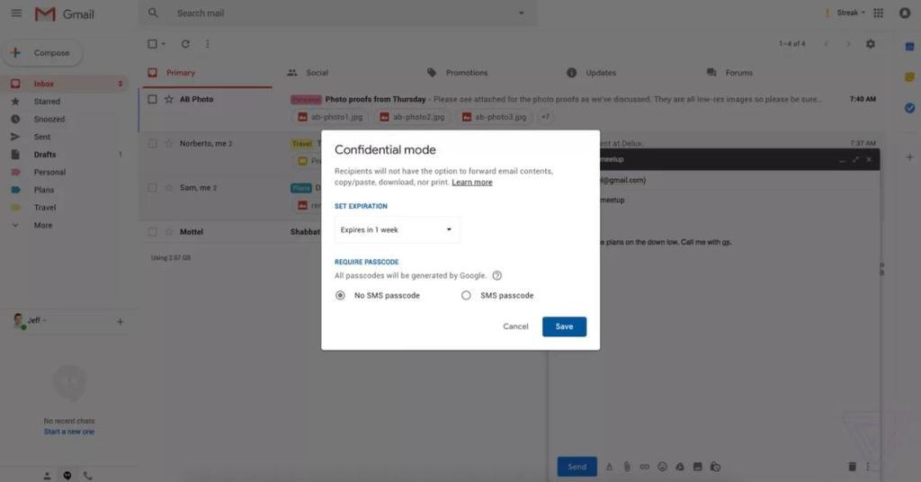 Modo confidencial en Gmail