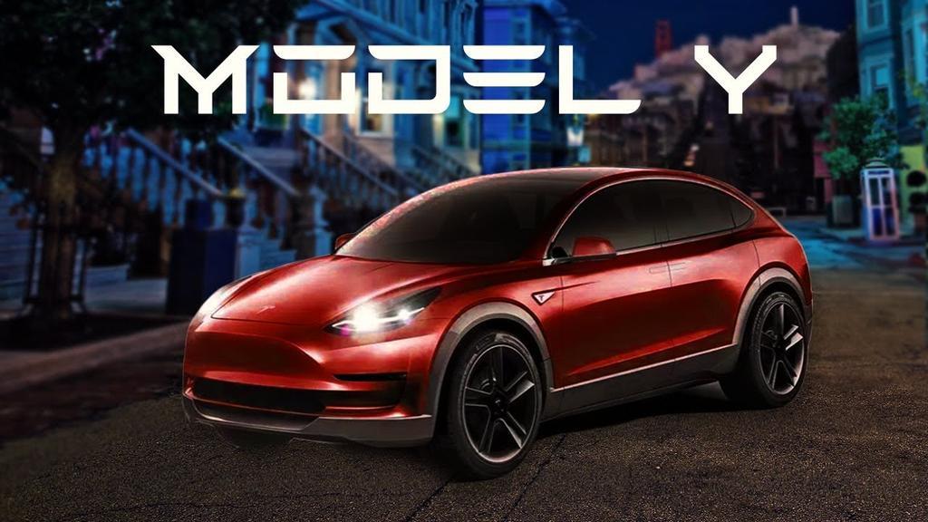 Diseño del Tesla Model Y de color rojo