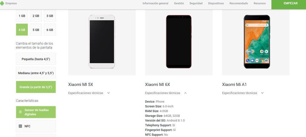 Xiaomi Mi A2 en la página web de Android