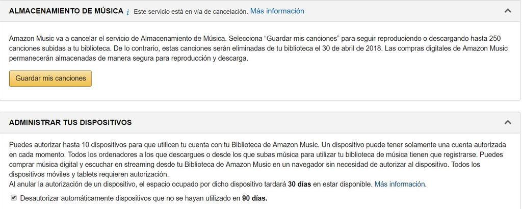 Descarga de música en Amazon Music Storage