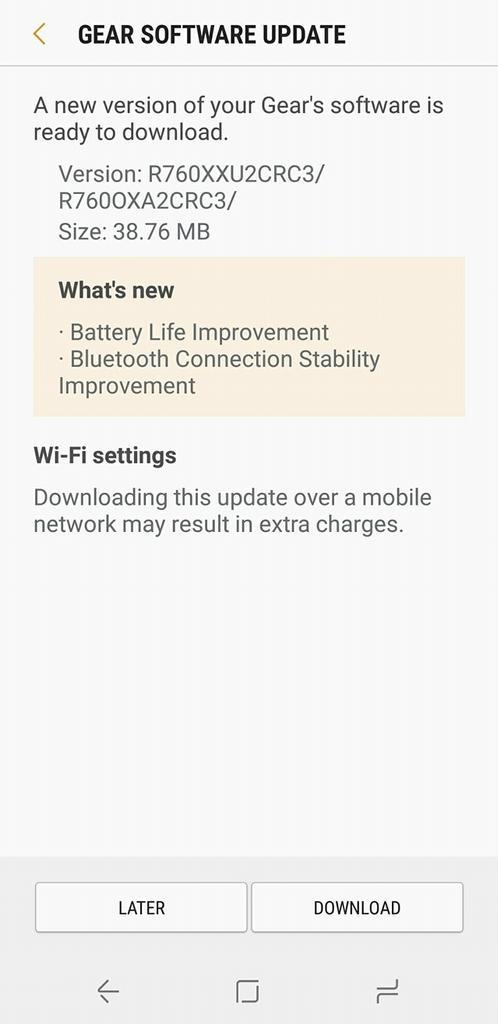 Actualización Samsung Gear S3