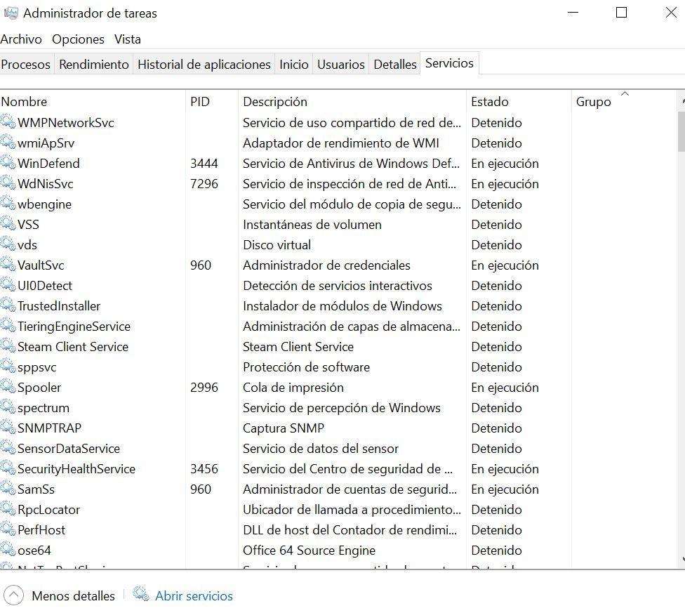 Administrados de tareas en Windows 10