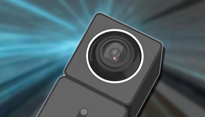 Cámara 360 de Xiaomi con fondo rayos