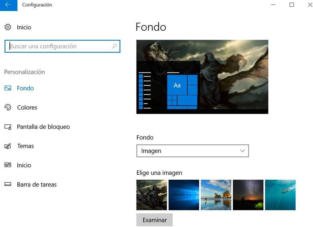 Gestión del fondo de escritorio en Windows 10