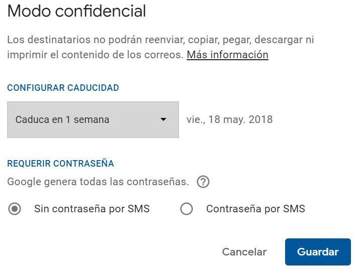 Opciones modo confidencial Gmail