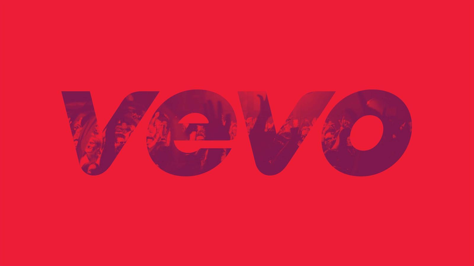 Logotipo del servicio Vevo en fondo rojo