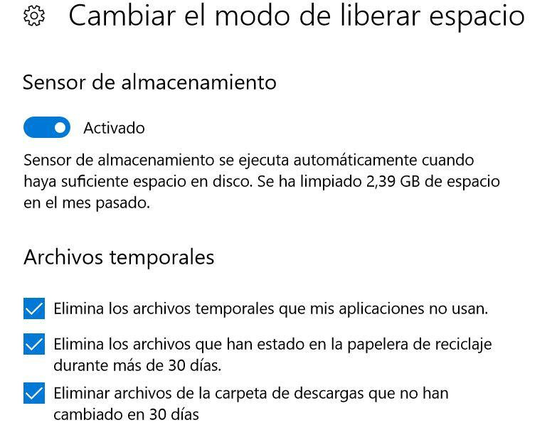 Opciones para liberar espacio en Windows 10