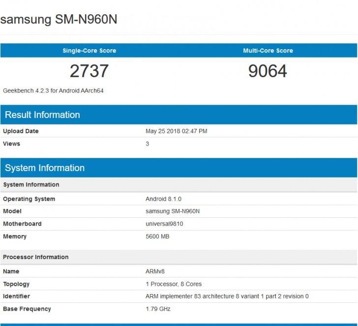Resultados Samsung Galaxy Note 9 Europa en Geekbench