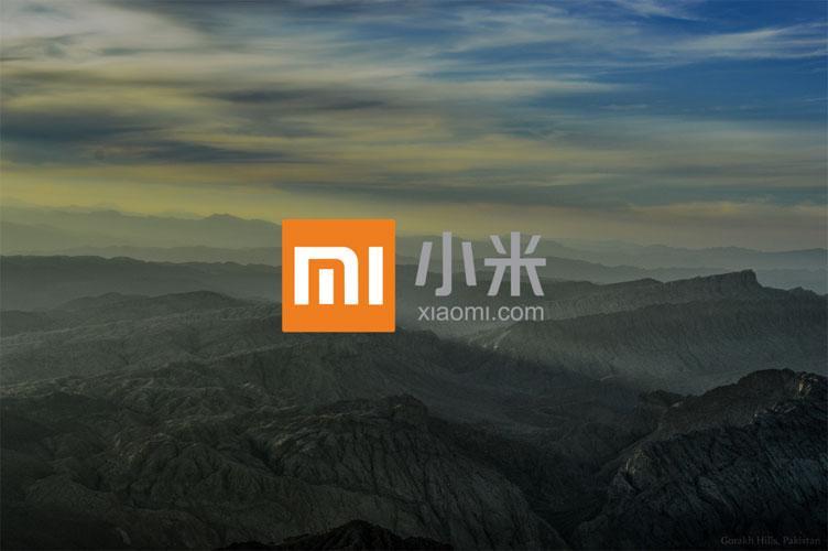 Logotipo de Xiaomi con fondo de montaña