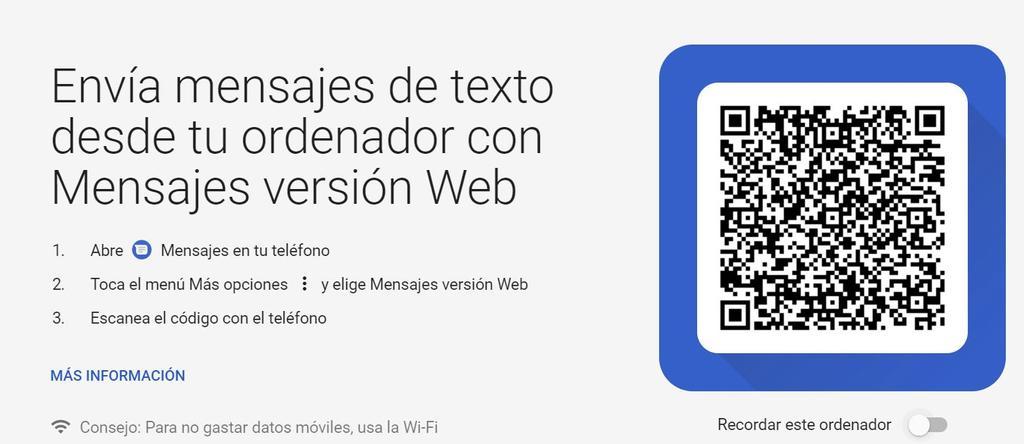 Acceso web a Mensajes de Android