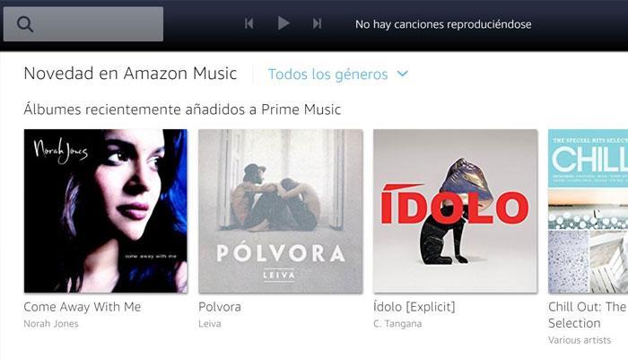 Interfaz web Prime Music de Amazon