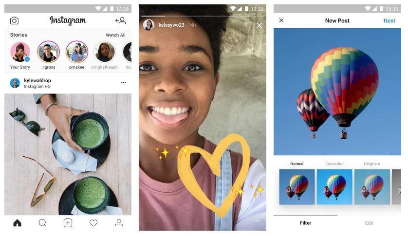 Interfaz de la aplicación Instagram Lite