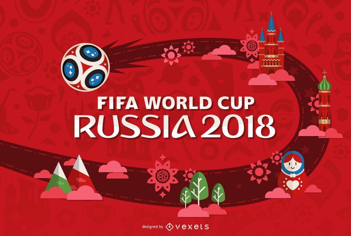 Logotipo Mundial de Rusia 2018 con fondo rojo