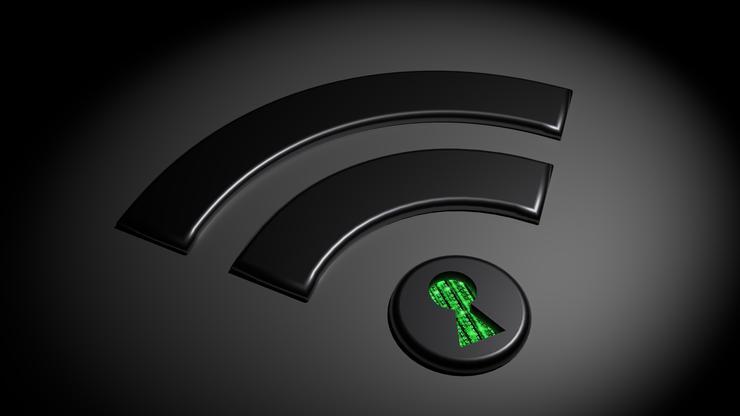 Logotipo de coneción WiFi con fondo negro y llave de seguridad