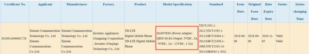 teléfono Xiaomi Mi MAX 3 certificado China