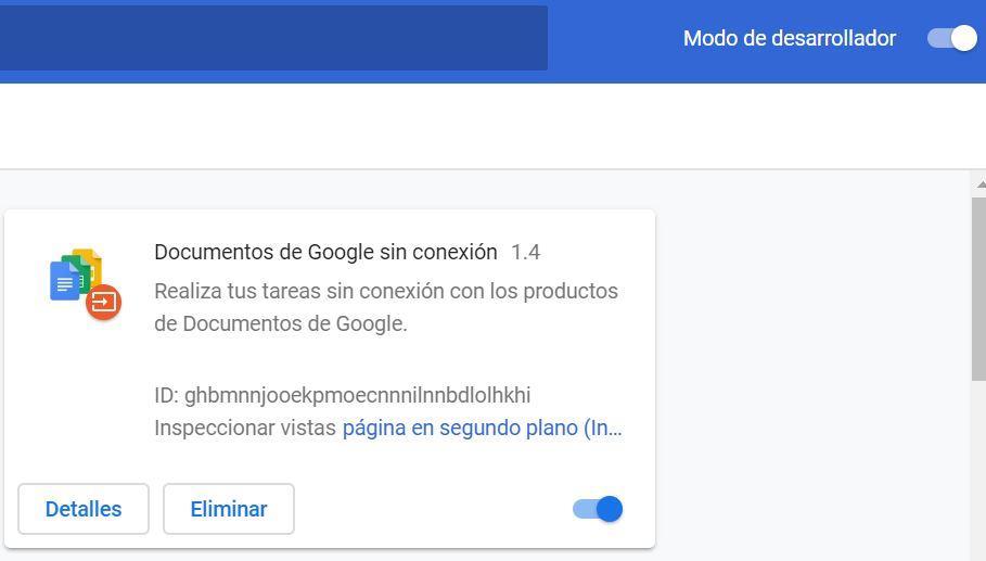 Modo desarrollador al instalar extensiones en Google Chrome de forma manual