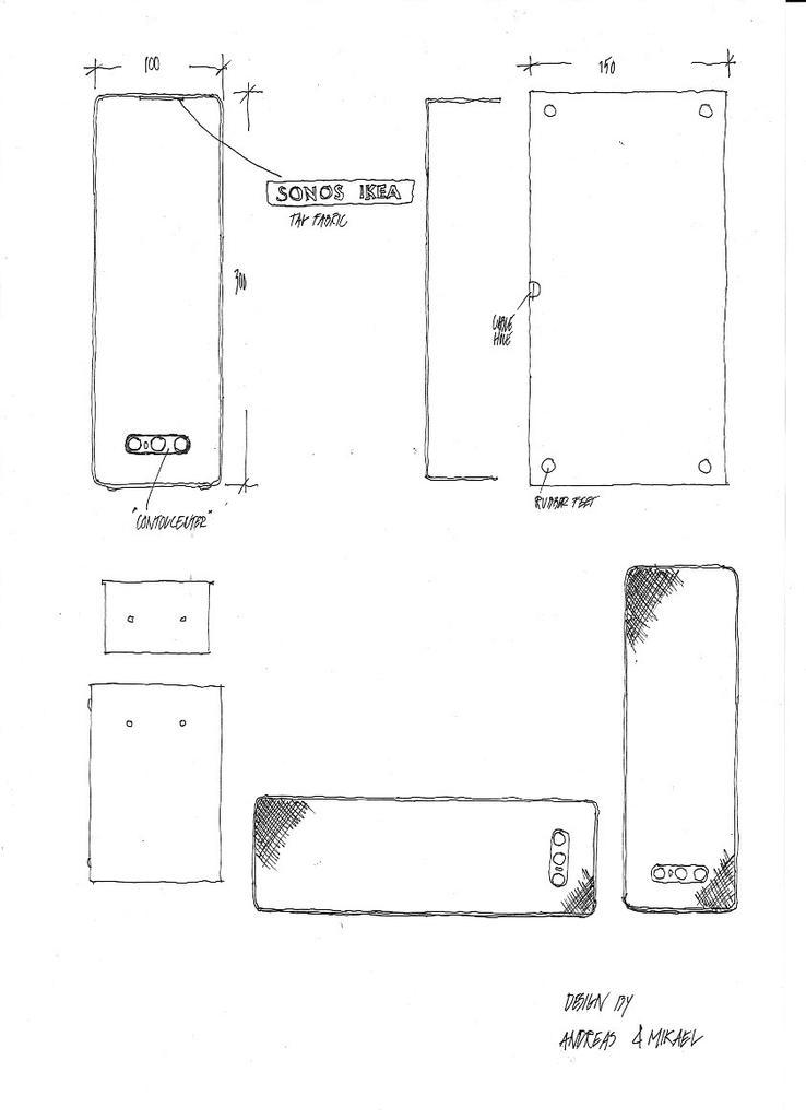 Boceto del altavoz SYMFONISK de IKEA y Sonos
