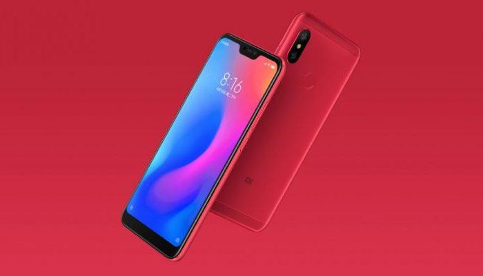 Diseño del teléfono Xiaomi Redmi 6 Pro de color rojo