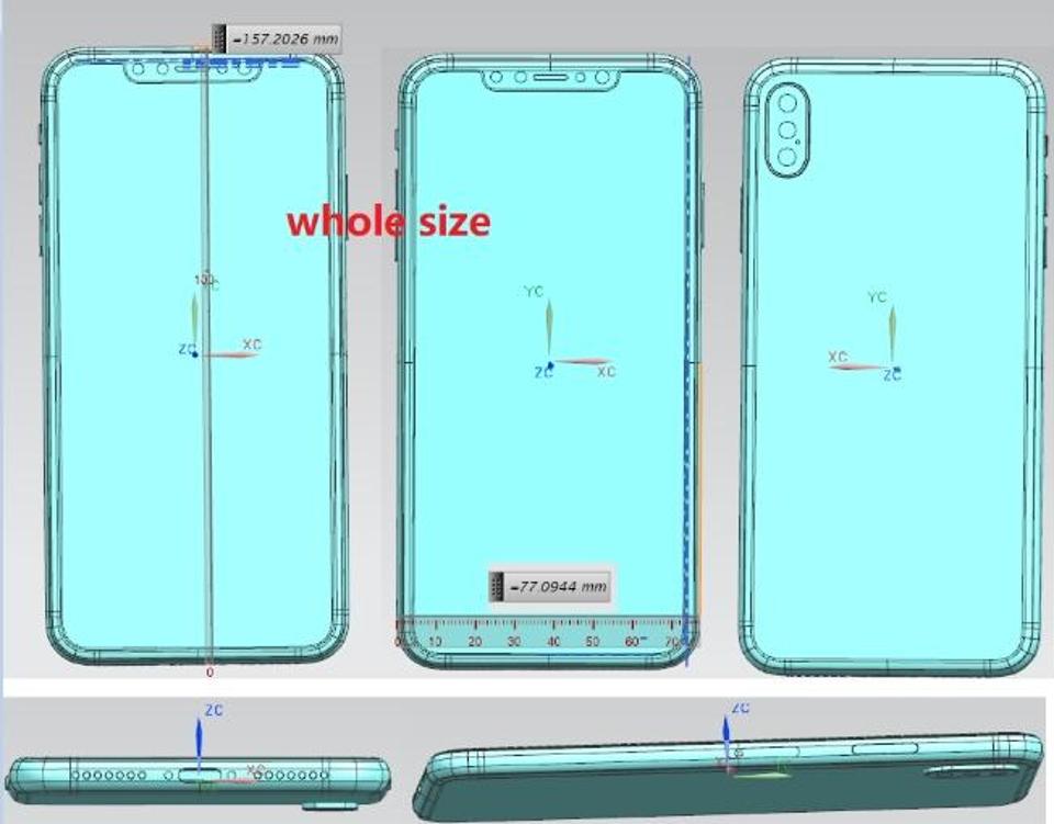 Diseño del iPhone 2018 con pantalla de ,5 pulgadas