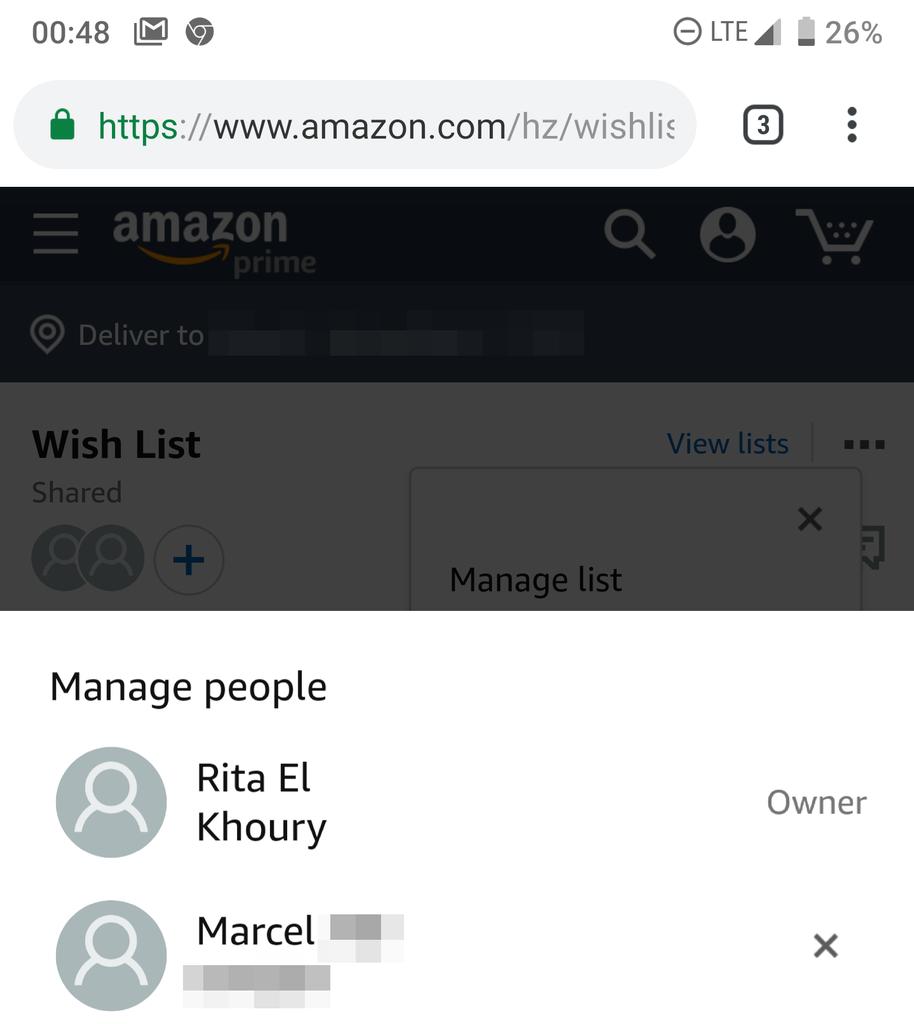 Amazon listas colaborativas